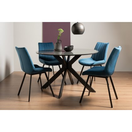 Fontana Blue Velvet Fabric Chairs, Grey Painted Dining Room Furniture