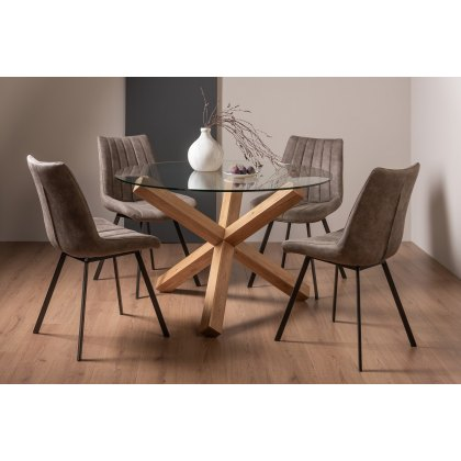 Goya Light Oak 4 Seater Dining Table, Round Glass And Oak Dining Table